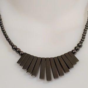 VINTAGE Hematite Necklace Art Deco Style GRADUATED